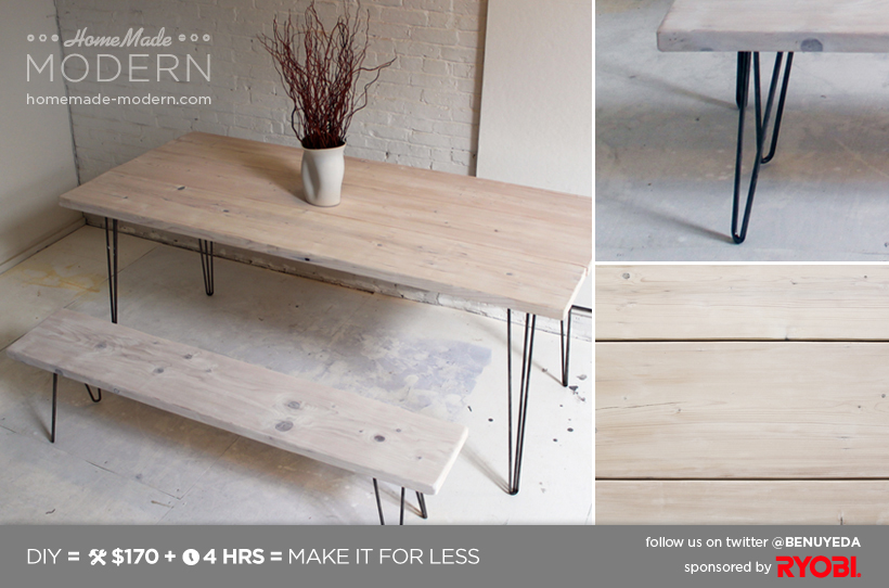 HomeMade Modern EP3.1 White Washed 2x12 Table with Hairpin Legs