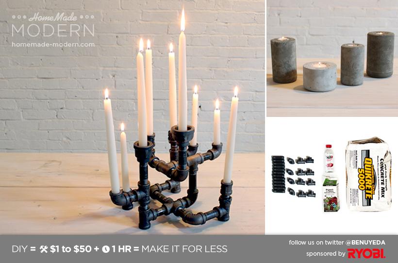 Diy Candle Holders Part - 46: HomeMade Modern DIY EP10 Modern Candleholders Postcard