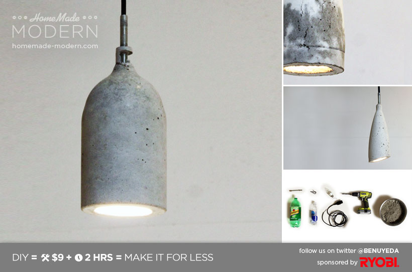 Homemade modern diy ep9 concrete pendant lamp postcard designer lighting can