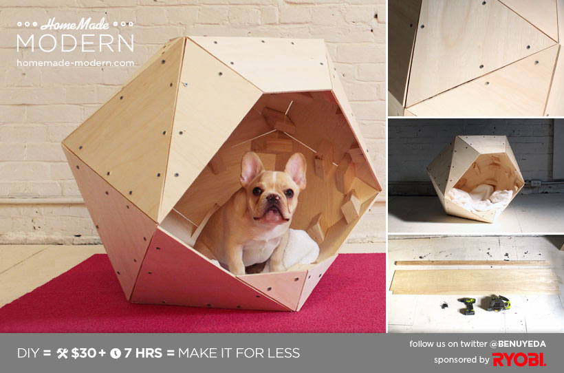 Homemade modern ep13 geometric doghouse for Modern dog house designs