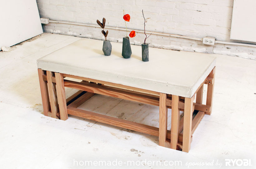 HomeMade Modern DIY EP15 Concrete + Wood Coffee Table Options Part 53