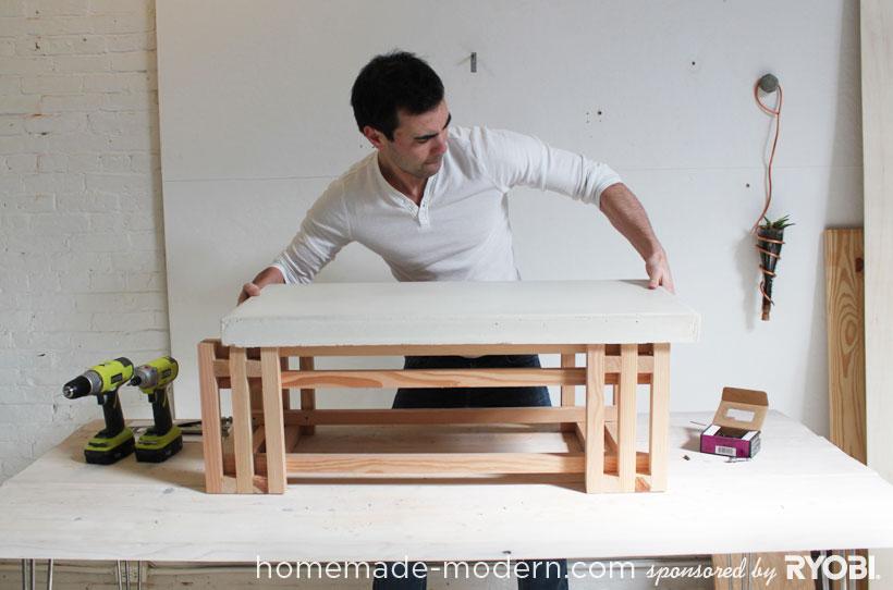 HomeMade Modern DIY EP15 Concrete + Wood Coffee Table Step 10