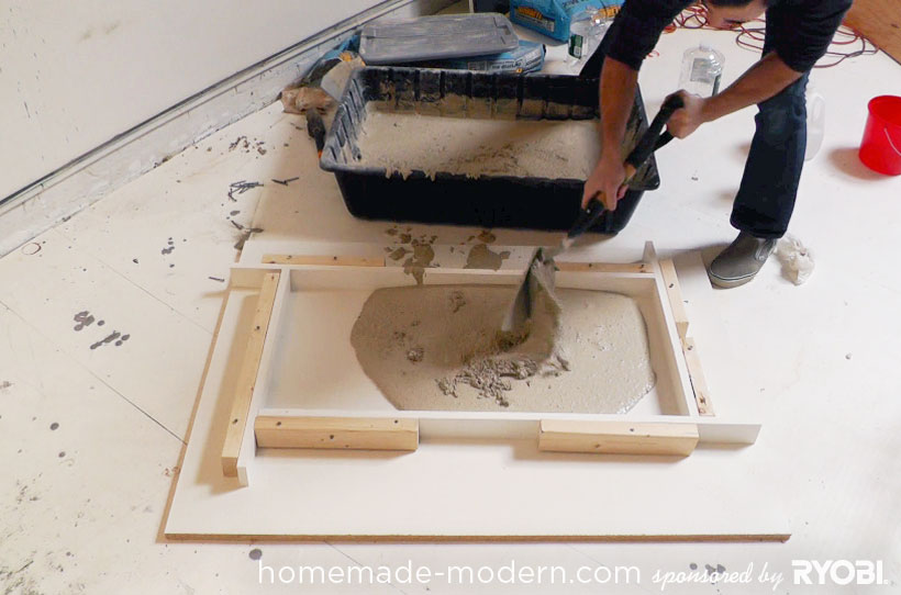 HomeMade Modern DIY EP15 Concrete + Wood Coffee Table Step 5