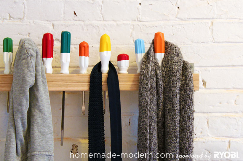 homemade modern diy ep19 screwdriver coat rack options - Modern Coat Rack