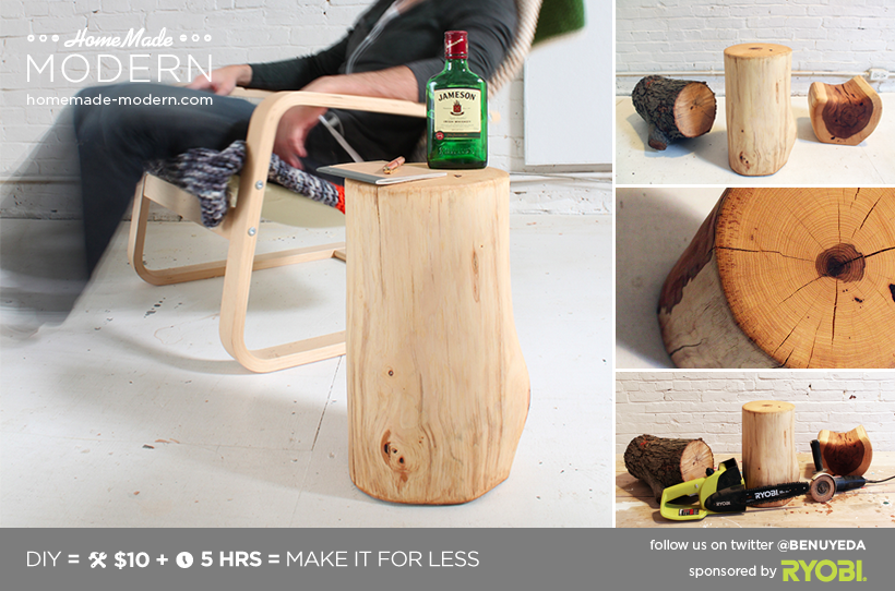 HomeMade Modern DIY Log End Table Postcard