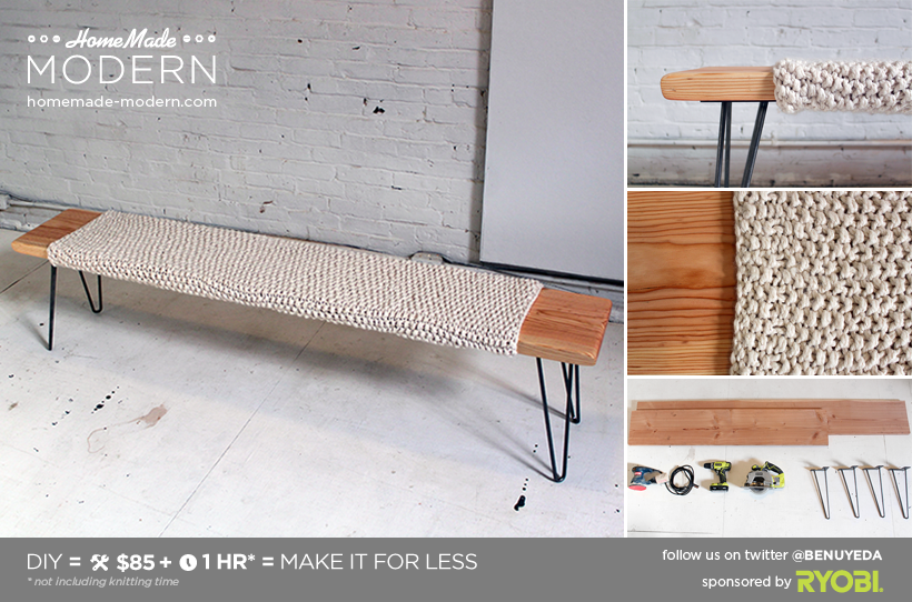 HomeMade Modern DIY Wood and Wool Bench Postcard
