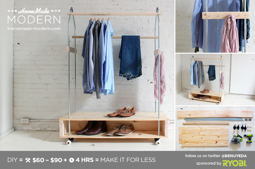 HomeMade Modern DIY Garment Rack Postcard