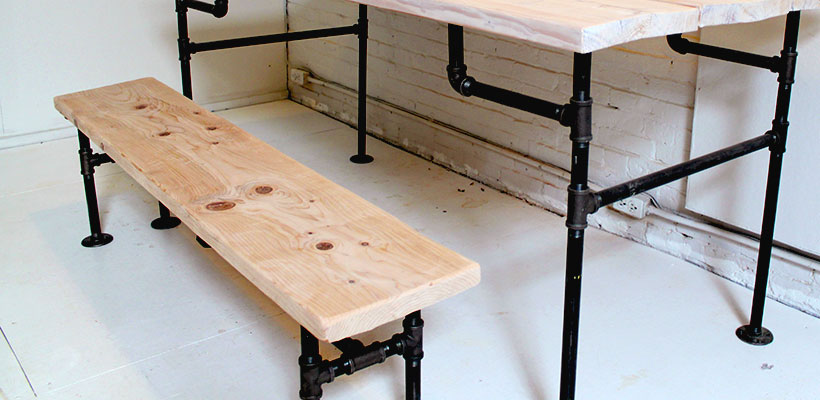 HomeMade Modern DIY Wood + Iron Bench