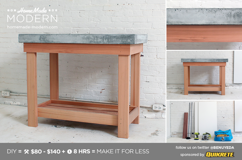 HomeMade Modern EP38 Wood Concrete Kitchen Island