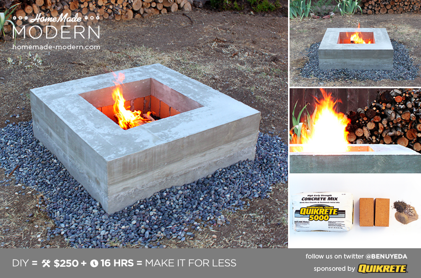 HomeMade Modern DIY Concrete Fire Pit Postcard