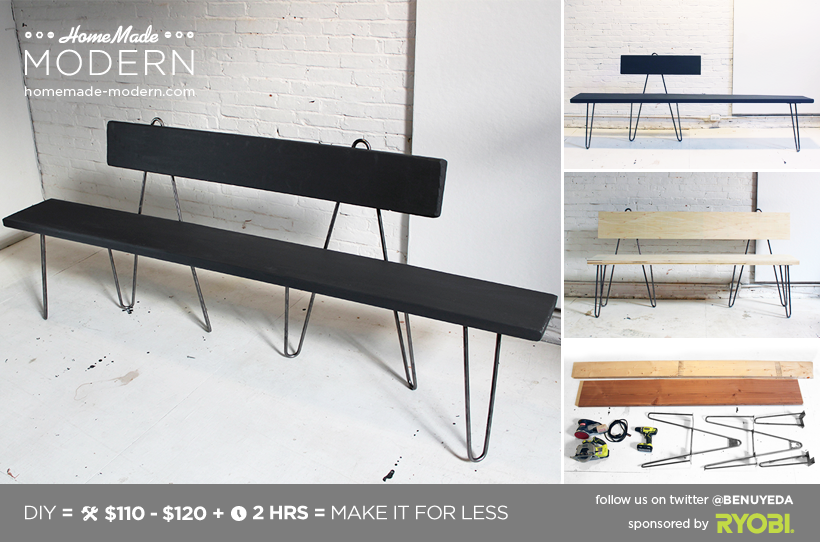 HomeMade Modern DIY Hairpin Bench Postcard