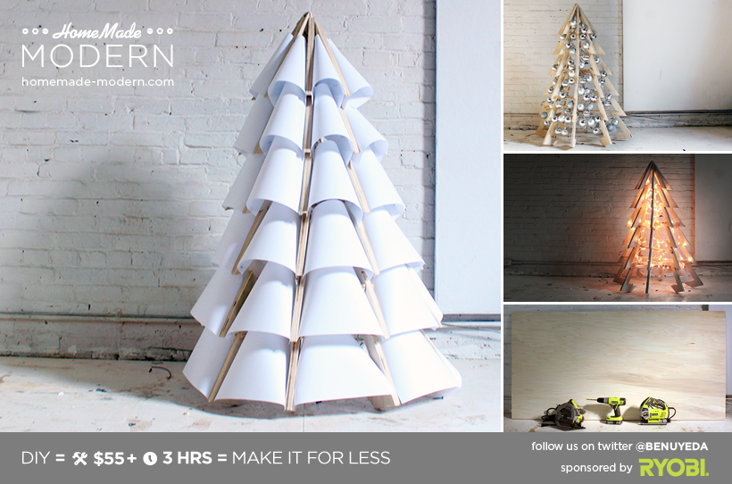 homemade modern diy xmas tree postcard - Wooden Christmas Tree