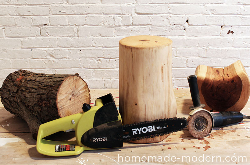 HomeMade Modern DIY Log End Table Supplies