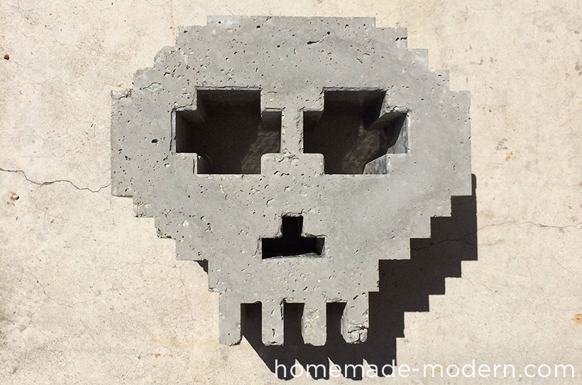 HHomeMade Modern DIY EP33 8-Bit Concrete Skull Planter Options