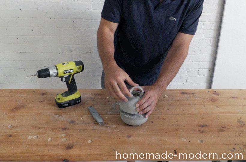 HomeMade Modern DIY EP37 Concrete Bowl Lamp Step 10