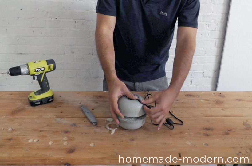 HomeMade Modern DIY EP37 Concrete Bowl Lamp Step 12