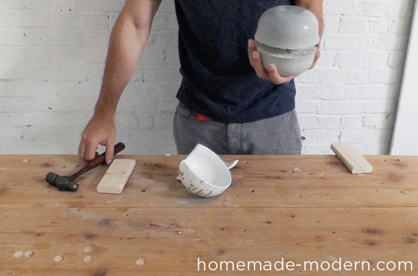 HomeMade Modern DIY EP37 Concrete Bowl Lamp Step 9