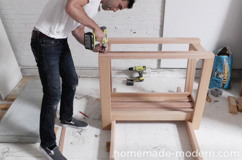 HomeMade Modern DIY EP38 Wood + Concrete Kitchen Island Step 15
