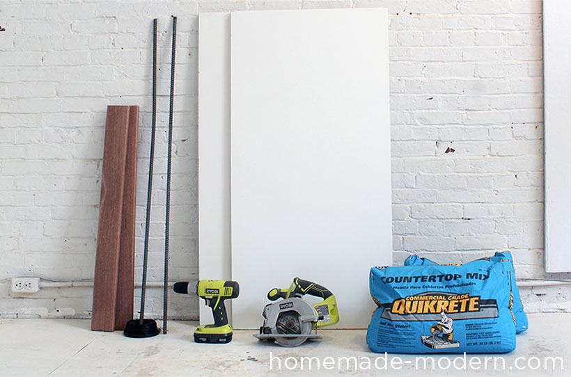 HomeMade Modern DIY EP40 Concrete + Iron Bar Table Supplies