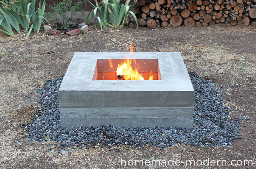 Homemade modern ep46 concrete fire pit for How to build a fire pit with concrete blocks