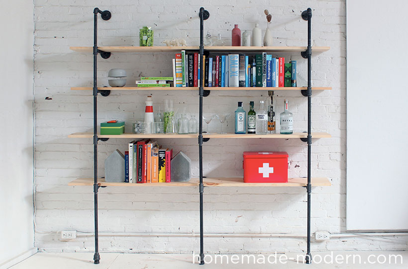 HomeMade Modern DIY Pipe Shelves Options