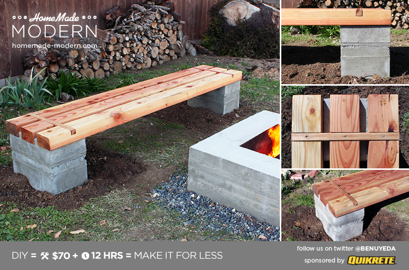 HomeMade Modern DIY Outdoor Concrete Bench Postcard