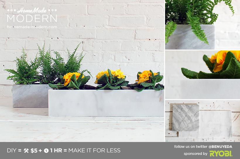 HomeMade Modern DIY Marble Planters Postcard