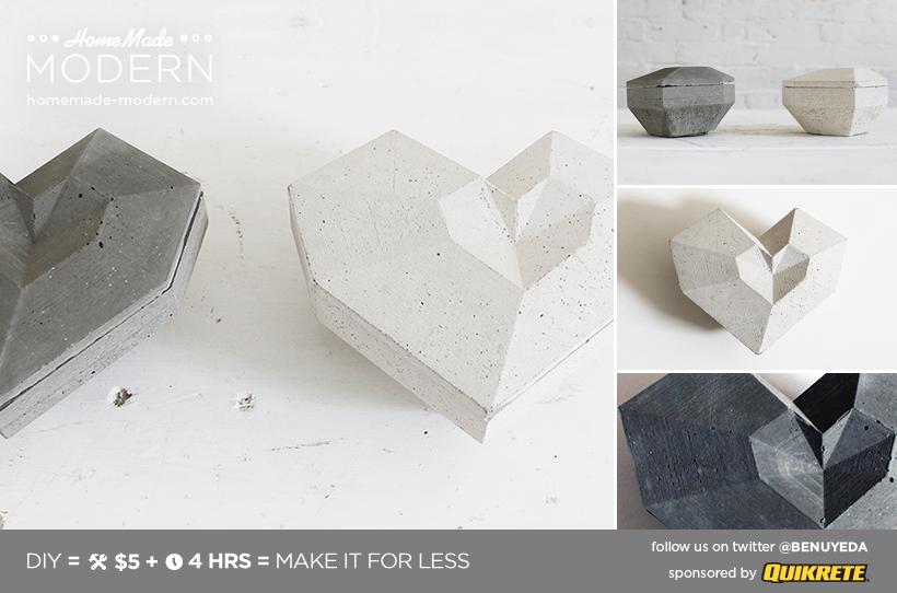 HomeMade Modern DIY Concrete Heart Box Postcard