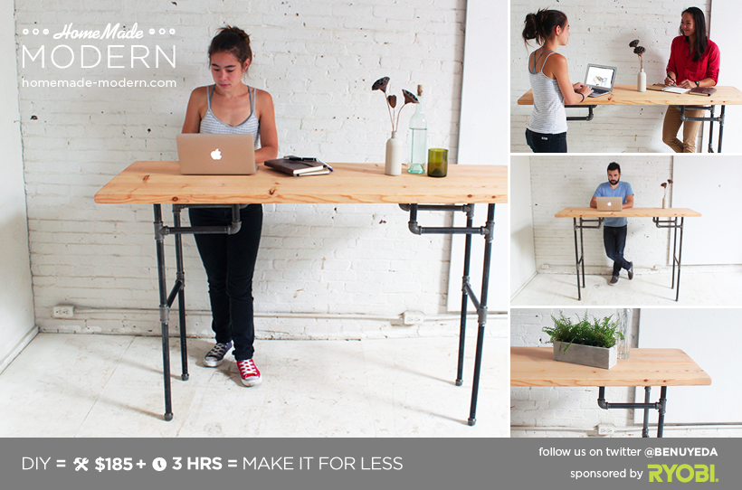 Homemade Modern Diy Standing Desk Postcard
