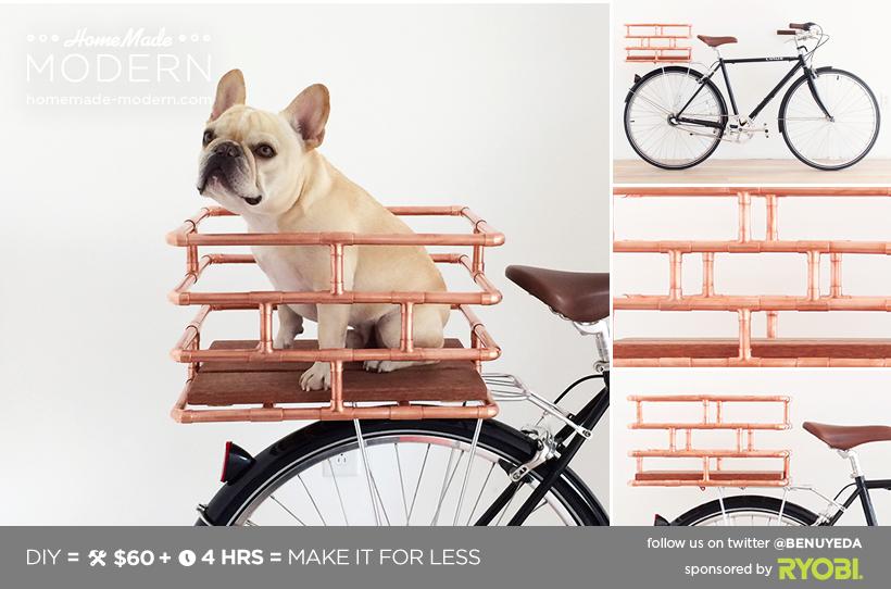 HomeMade Modern DIY Copper Bike Basket Postcard