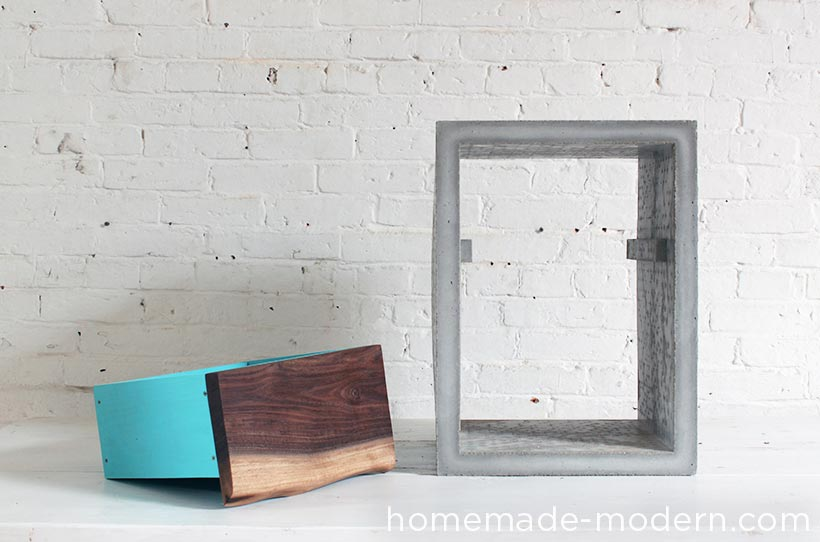 HHomeMade Modern DIY EP56 Concrete Walnut Nightstand Options