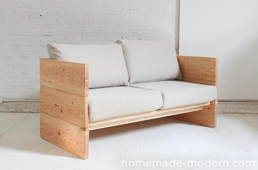 This DIY modern plywood sofa is made out of 2-1/2 sheets