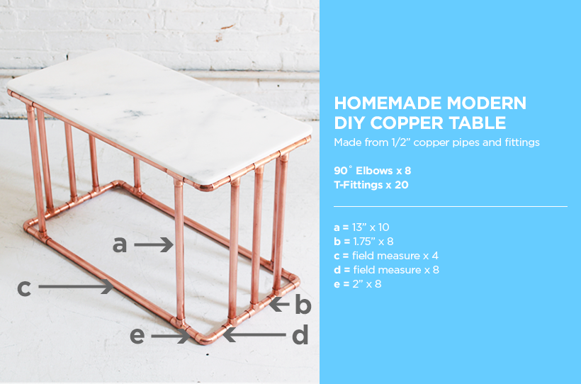 "Learn how to make this DIY Copper and Marble Coffee Table and many other DIY modern furniture projects on HomeMade-Modern.com. This DIY Modern Table is made out of ½"" copper pipes and Marble tiles and works well as a coffee table or nightstand."