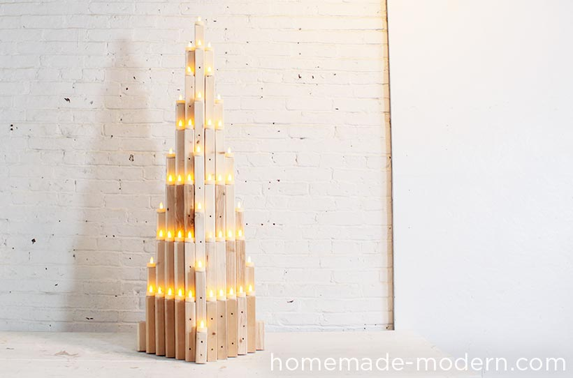 This 2x2 Xmas tree project puts a modern spin on holiday decorating. It's easy to make with a few materials and repetitive steps. I like the natural wood look, but you can finish it off with paint or stain to match your style. For more information, go to HomeMade-Modern.com.