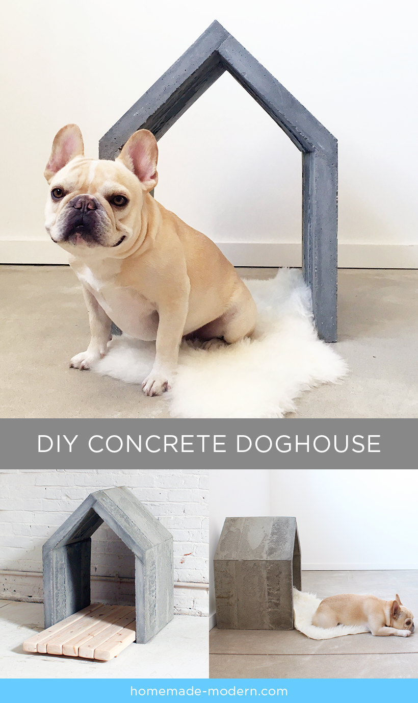 This modern concrete doghouse is made out of quikrete countertop mix poured into a mold made
