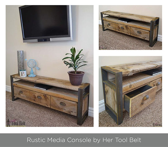 Rustic media console by Her Tool Belt