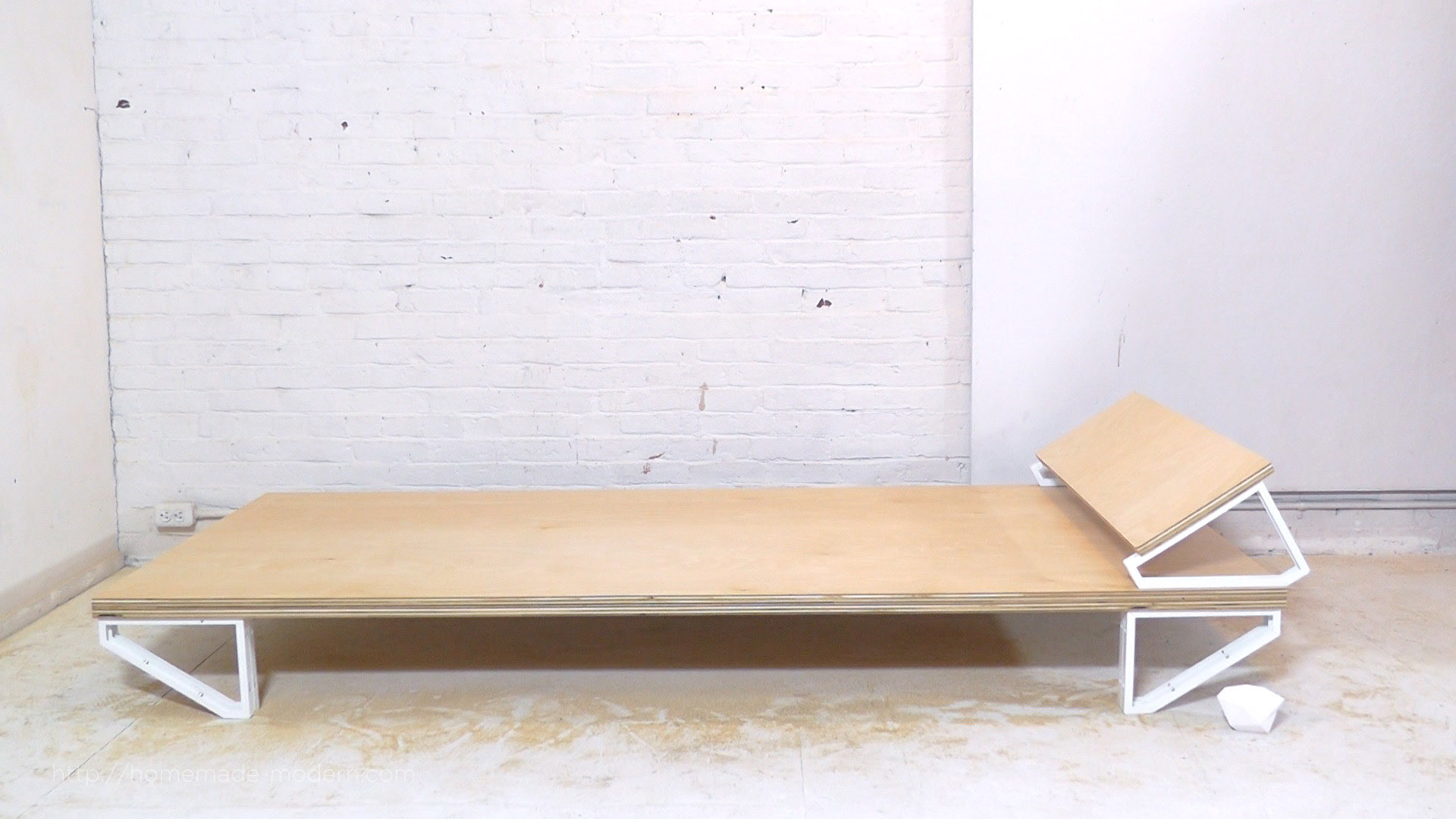 "This DIY Modern Bed is made from a sheet of ¾"" plywood, and 10 ikea ..."