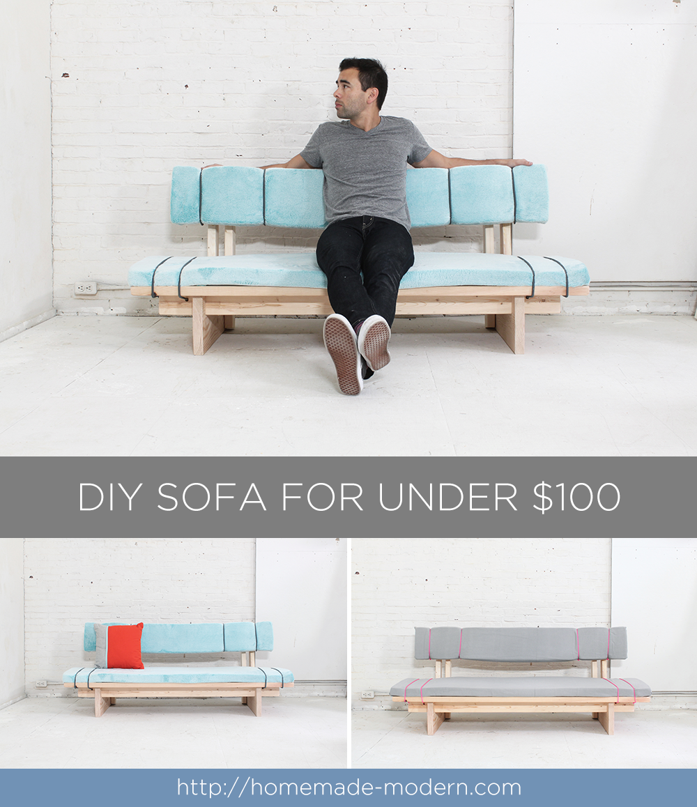 This DIY sofa can be made for less than $100 and requires no sewing. Full instructions can be found at RyobiTools.com.