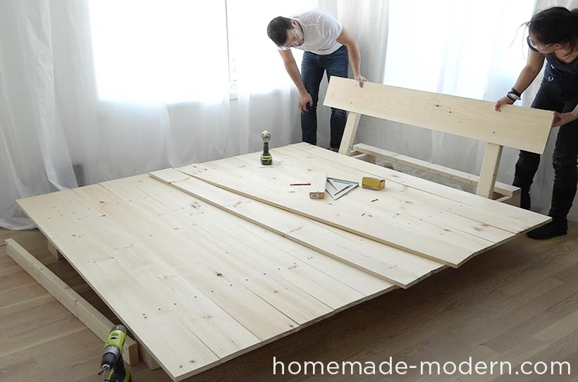 This DIY platform bed is made out of 2x8s, 2x4s and pine boards. I ...