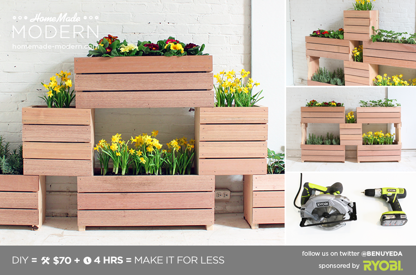 Homemade Modern Diy Stackable Planters Postcard My Friends At The Home Depot Asked Me To Design A Vertical Garden Project